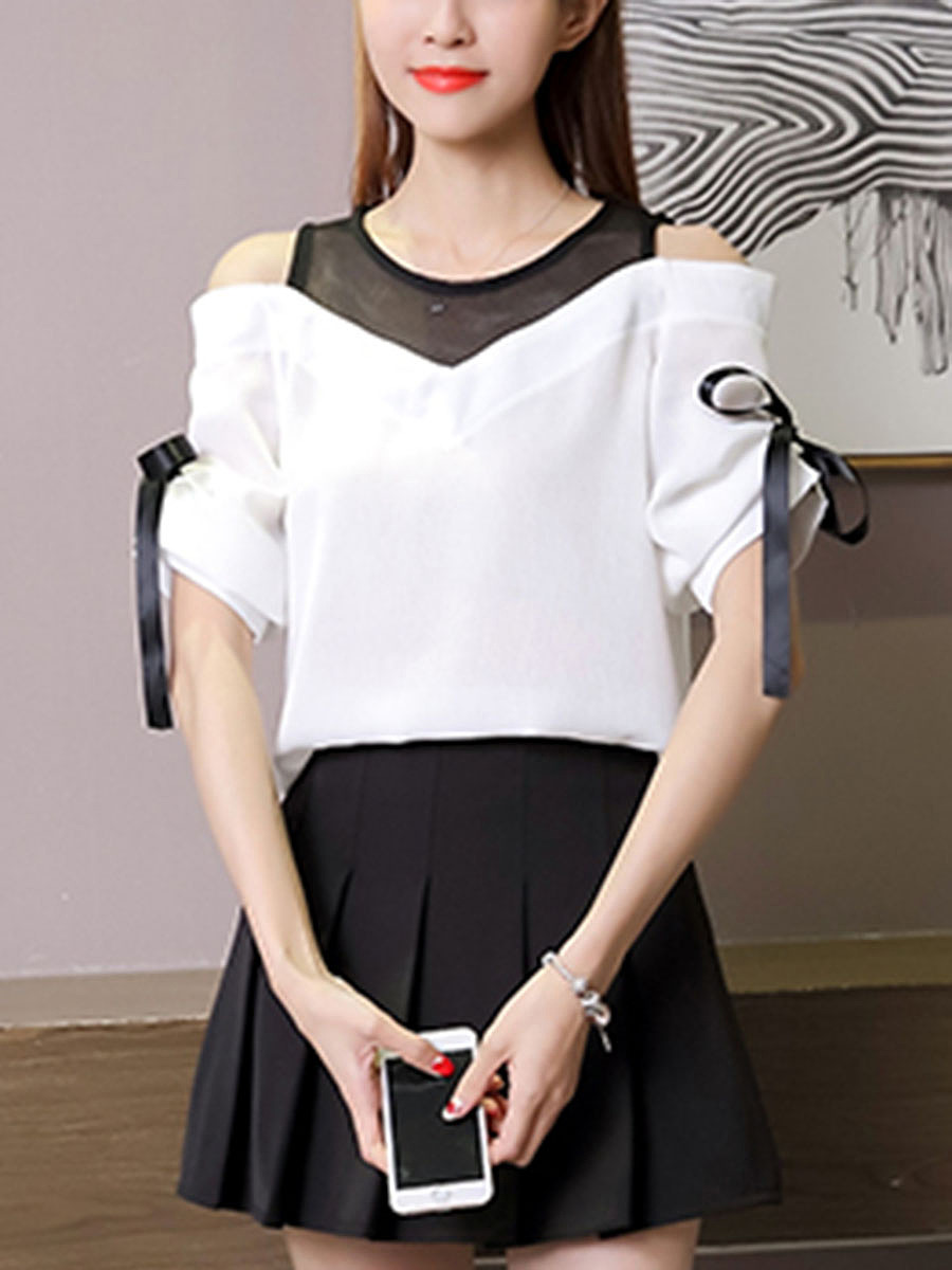 Open Shoulder  Hollow Out Blouse With Tie Sleeves