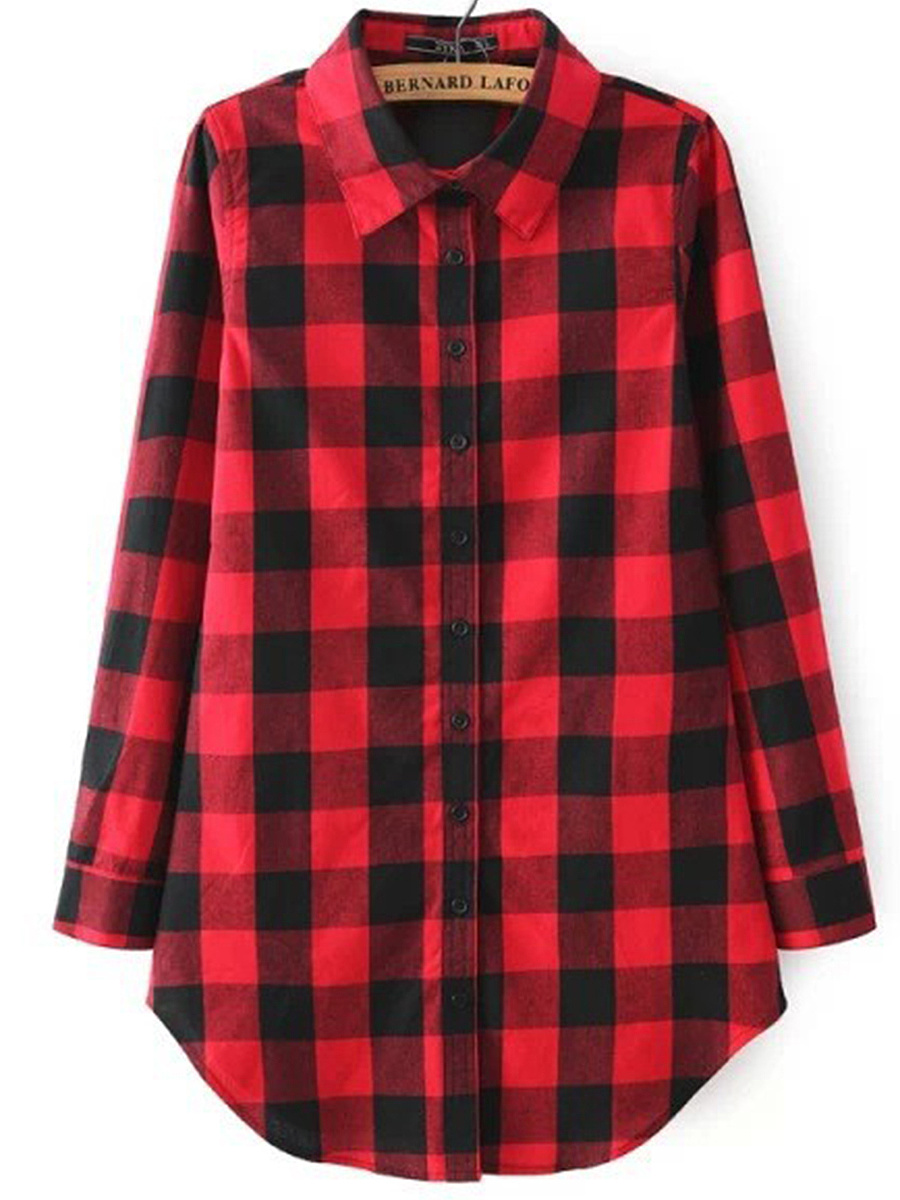 Classic Basic Plaid Turn Down Collar Blouse