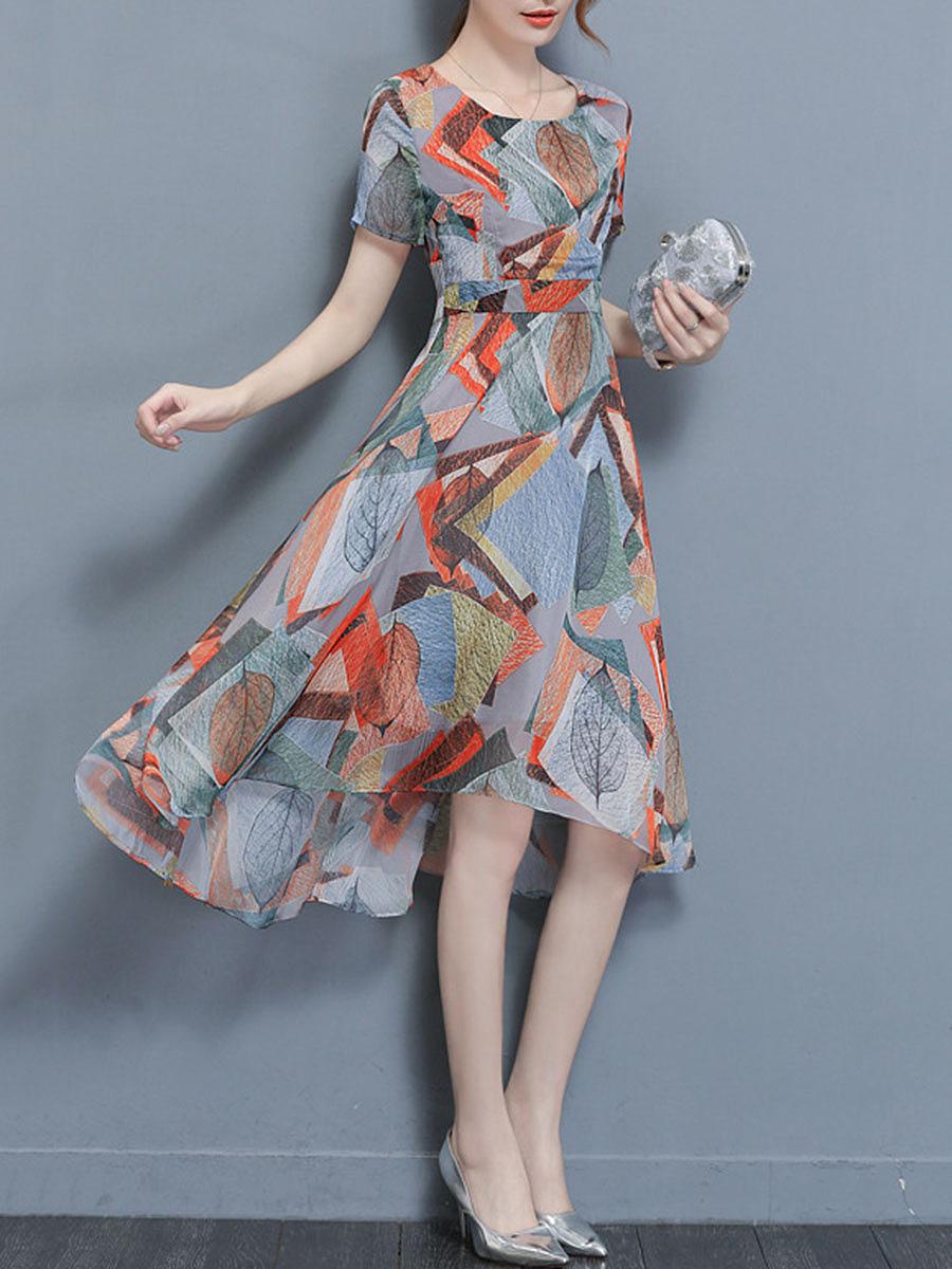Round Neck  Printed High-Low Chiffon Skater Dress