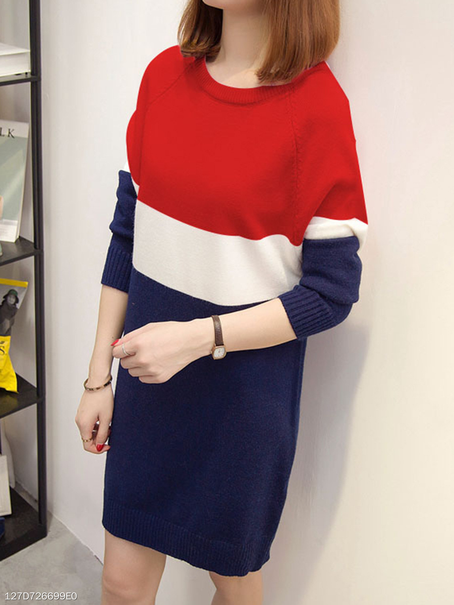 Round Neck  Colouring Knit Daily Shift Dress