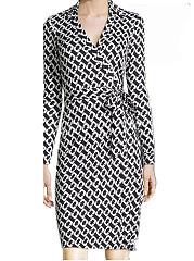 Surplice-Geometric-Blend-Bodycon-Dress