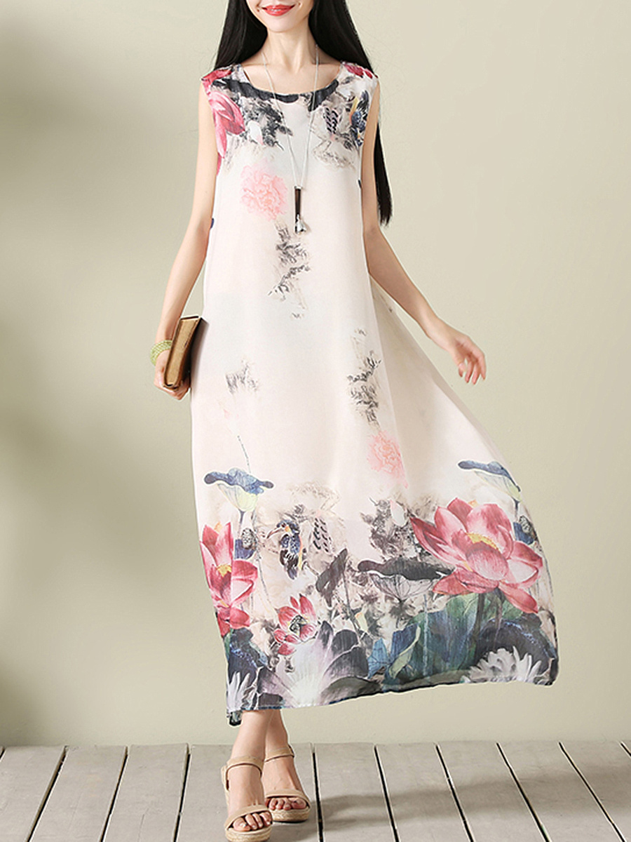 Loose Round Neck  Floral Printed  Chiffon Maxi Dress