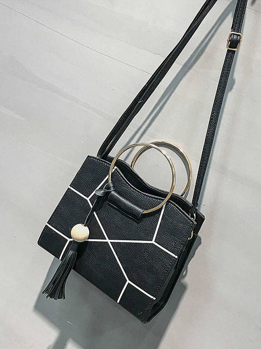 Geometric Line Pu Crossbody Bag