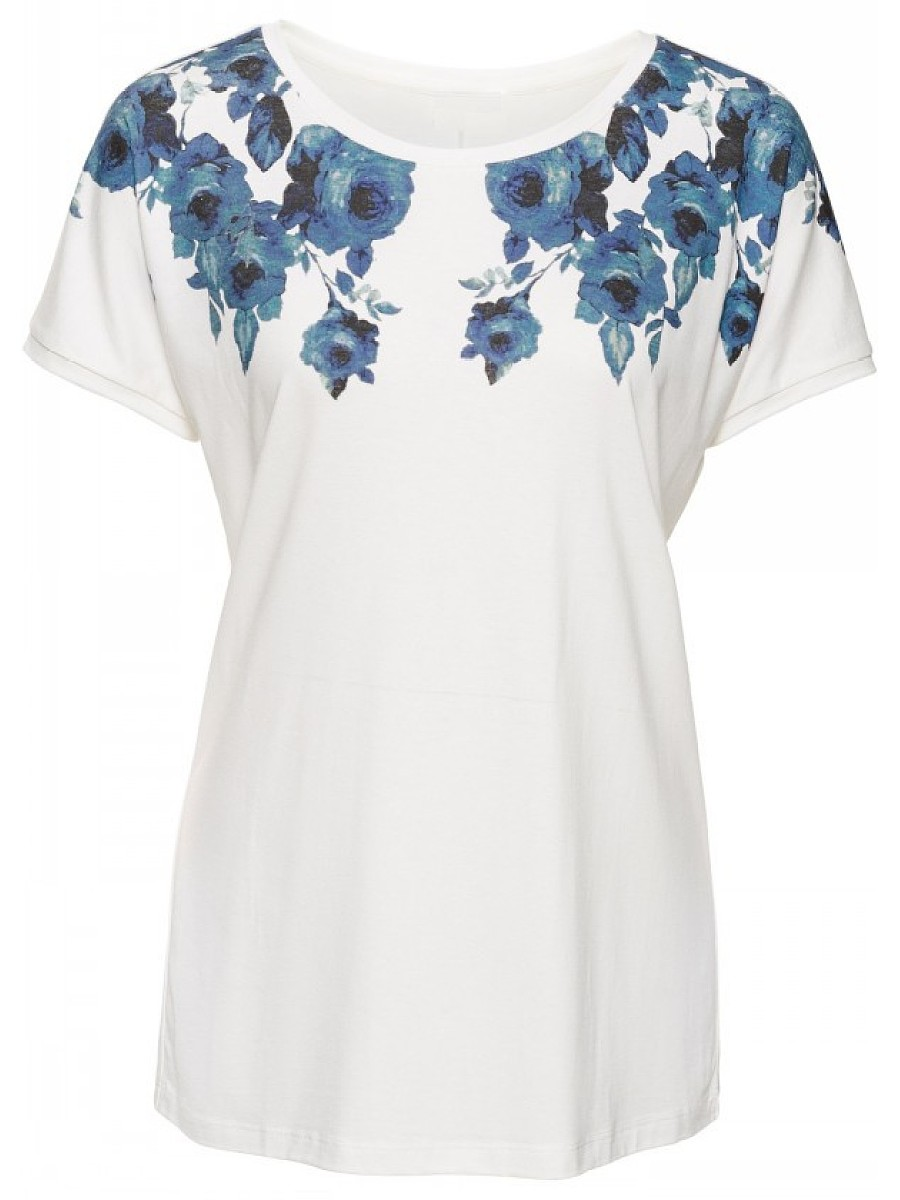 Simple Floral Printed Short Sleeve T-Shirt