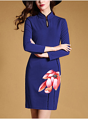 Henley Collar  Single Button  Floral   Lotus  Bodycon  Dress