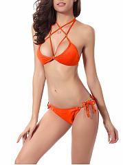Alluring-Strappy-Halter-Beading-Plain-Bikini