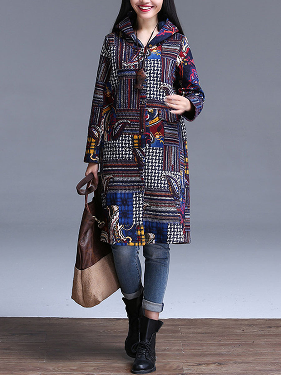 Hooded Tribal Printed Single Breasted Longline Coat