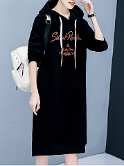 Hooded  Drawstring  Letters Shift Dress