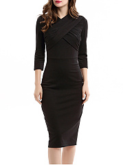 Plain-Blend-Bodycon-Dress