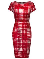Round-Neck-Plaid-Blend-Bodycon-Dress