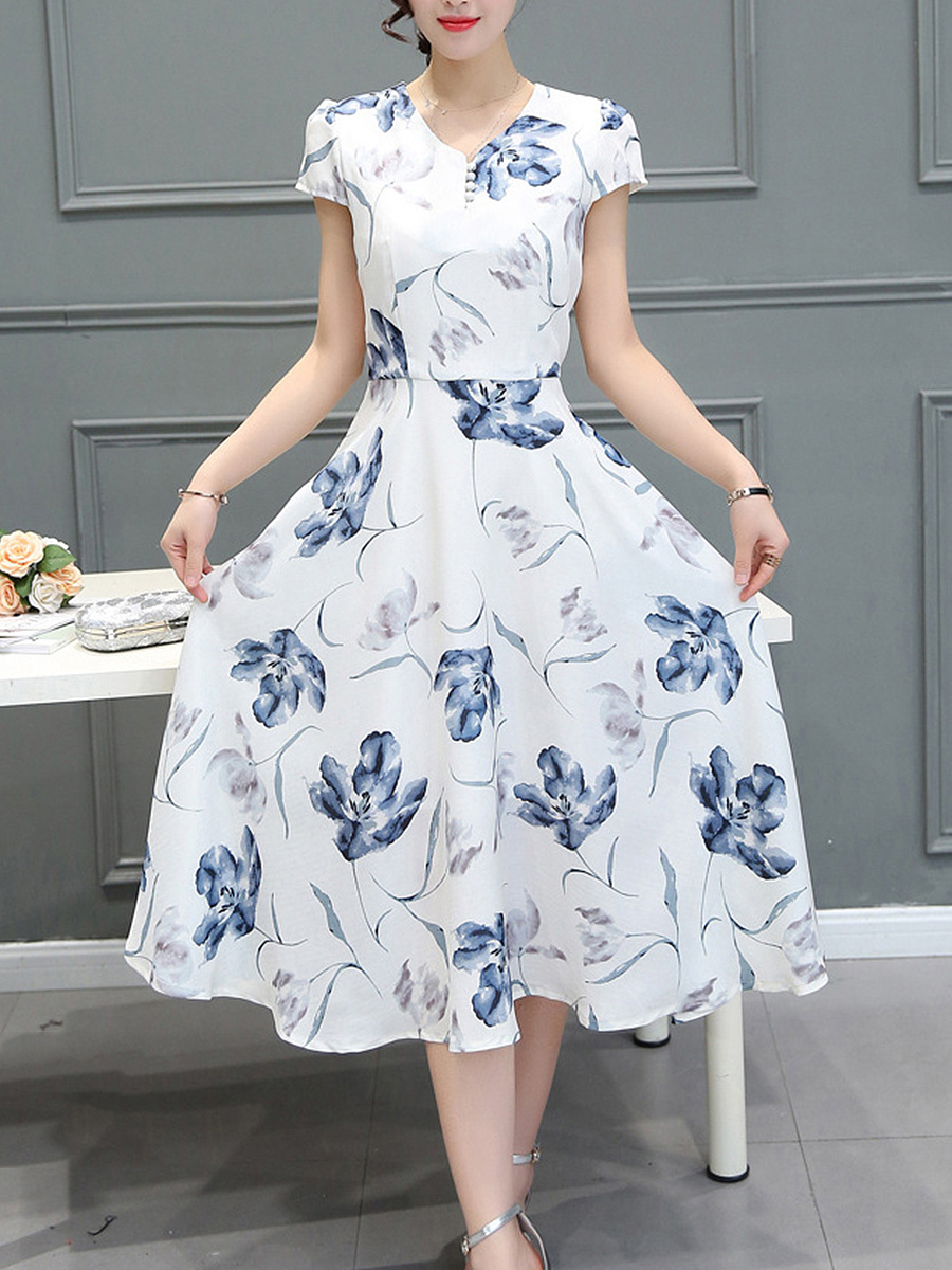 V-Neck  Floral Printed  Chiffon Maxi Dress
