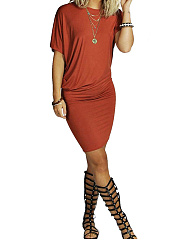 Round-Neck-Plain-Blend-Bodycon-Dress