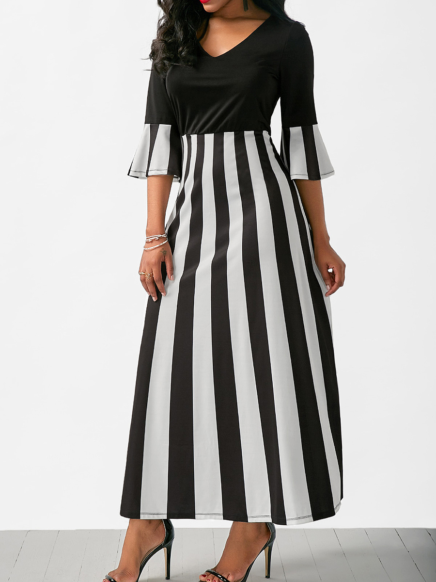 V-Neck Vertical Striped Bell Sleeve Maxi Dress