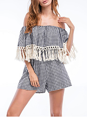 Flounce-Fringe-Plaid-Off-Shoulder-Romper