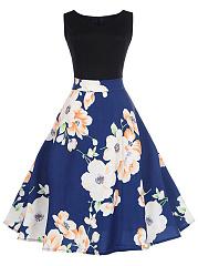 Floral-Printed-Sleeveless-Round-Neck-Skater-Dress