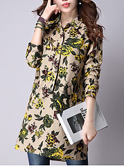 Longline Floral Printed Pocket Long Sleeve T-Shirt