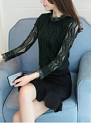 Autumn Spring  Cotton  Women  Round Neck  Decorative Lace See-Through  Floral  Long Sleeve Blouses