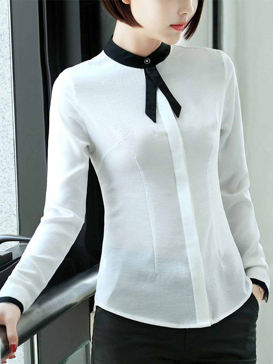 Contrast Band Collar Long Sleeve Blouse