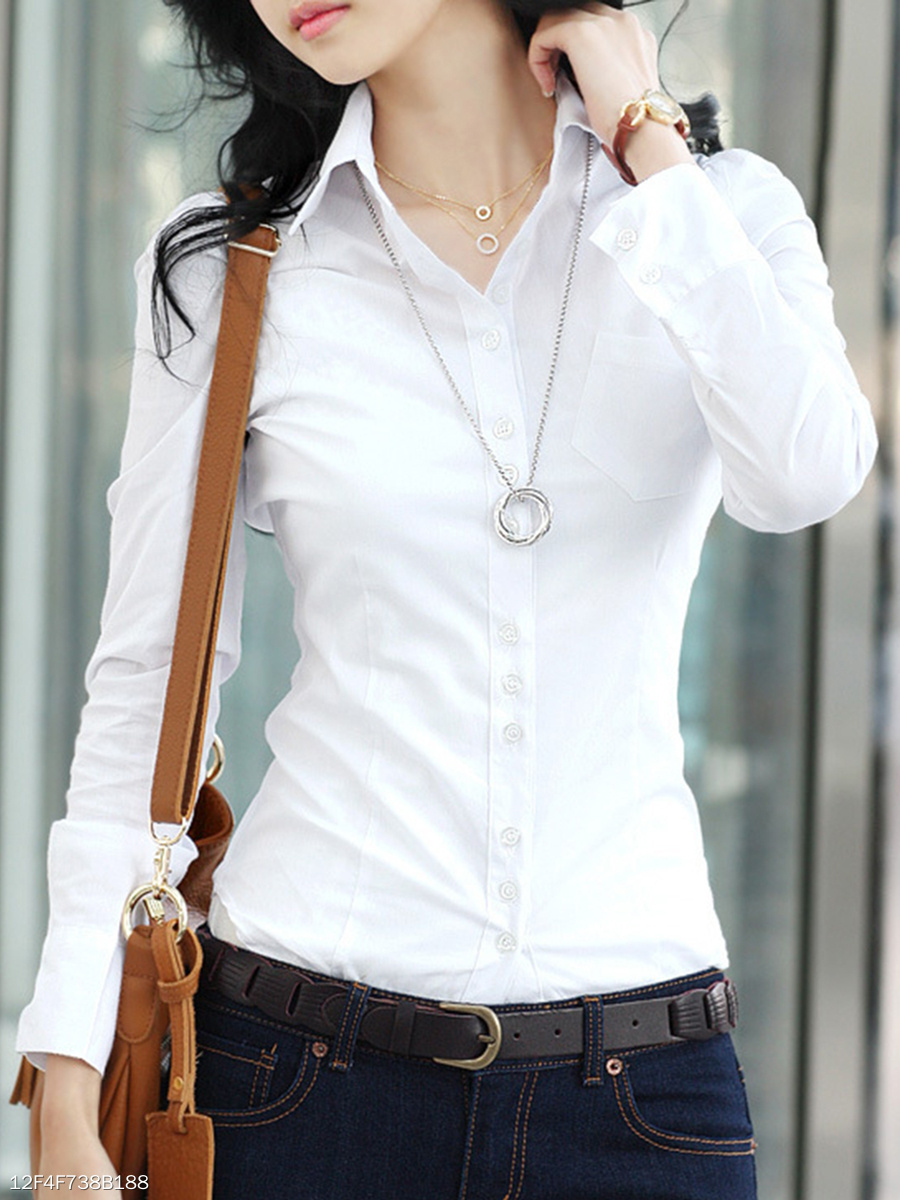 Fitted Turn Down Collar  Plain Blouse