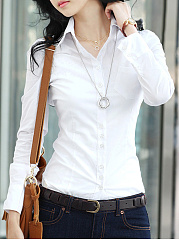 Fitted-Turn-Down-Collar-Plain-Blouse