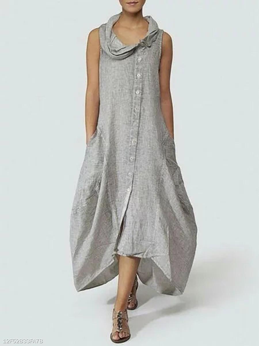 fa36dcbc11ff Cowl Neck Single Breasted Plain Maxi Dress - fashionMia.com