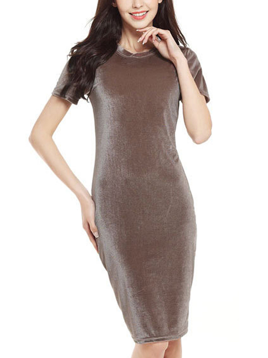 Solid Round Neck Velvet Short Sleeve Bodycon Dress