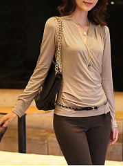 V Neck  Plain Long Sleeve T-Shirts