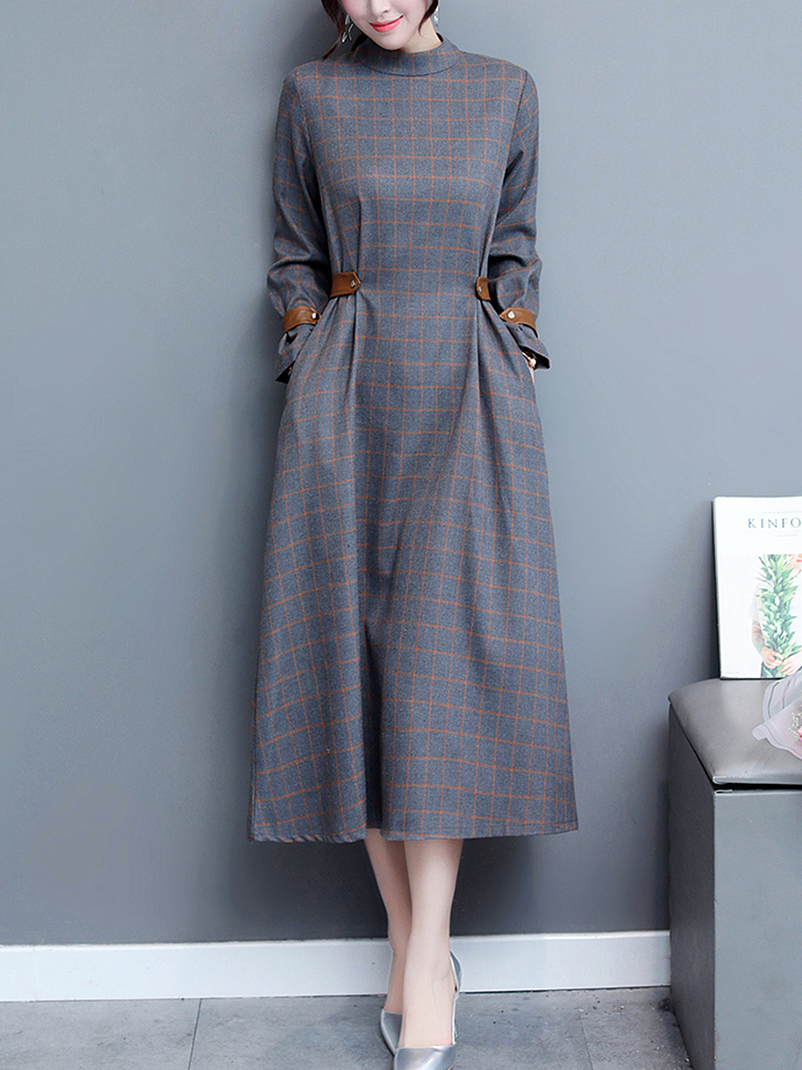 Band Collar Pocket Plaid Maxi Dress