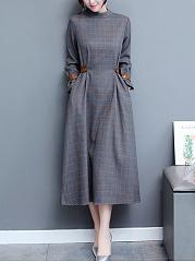 Band-Collar-Pocket-Plaid-Maxi-Dress