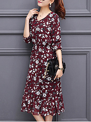 V-Neck  Elastic Waist Ruffled Hem  Printed Maxi Dress