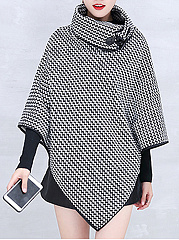 Turtleneck Asymmetric Hem Zigzag Striped Cape