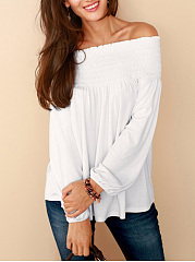 Off Shoulder Plain High-Low Long Sleeve T-Shirt