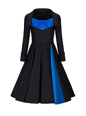 Sweet-Heart-Bowknot-Color-Block-Skater-Dress