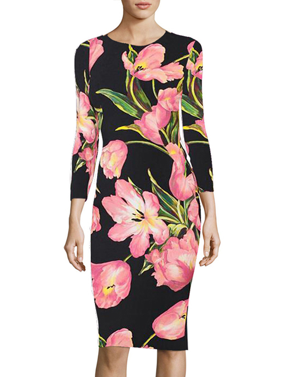 Round Neck Floral Printed Slit Bodycon Dress