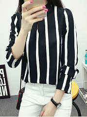 Band-Collar-Striped-Long-Sleeve-Blouses