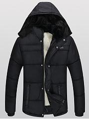 Men-Hooded-Fleece-Lined-Quilted-Plain-Coat