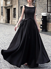 Boat Neck Back Hole Plain Maxi Dress