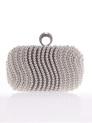 Rhinestone White Pearl Clutch Bag