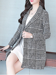 Notch Lapel  Slit Pocket  Houndstooth  Long Sleeve Coats