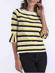 Round Neck  Striped  Bell Sleeve  Half Sleeve Sweaters Pullover