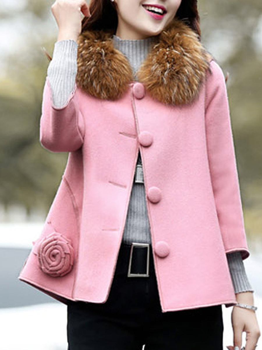 Faux Fur Collar Single Breasted Floral Woolen Coat