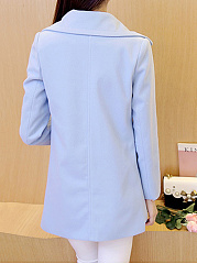 Fold-Over Collar  Flap Pocket Single Breasted  Plain  Long Sleeve Coats