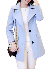 Fold-Over-Collar-Flap-Pocket-Single-Breasted-Plain-Long-Sleeve-Coats
