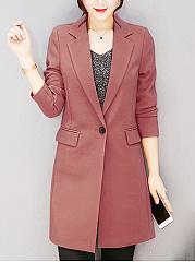 Lapel-Flap-Pocket-Single-Button-Plain-Long-Blazer