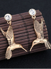 Bird-Shaped Rhinestone Drop Earrings