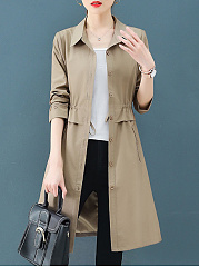 Turn Down Collar  Elastic Waist  Plain Trench Coat