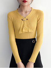 Tie Collar  Beading  Plain  Long Sleeve Sweaters Pullover