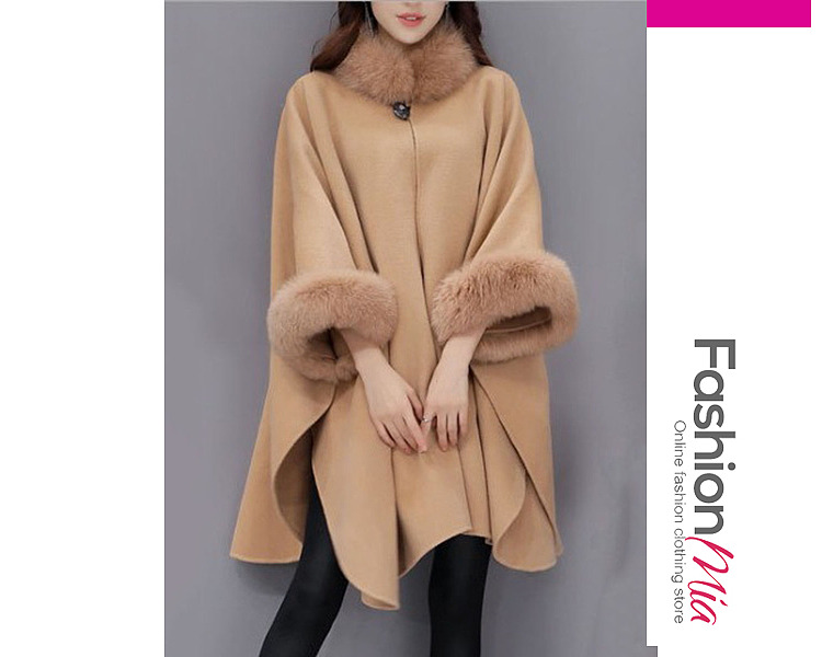 gender:women, hooded:no, thickness:regular, brand_name:fashionmia, outerwear_type:cape, style:elegant, material:blend, collar&neckline:faux fur collar, sleeve_type:batwing sleeve, sleeve:three-quarter sleeve, embellishment:frayed trim, pattern_type:plain, how_to_wash:dry clean only, supplementary_matters:all dimensions are measured manually with a deviation of 2 to 4cm., occasion:casual,office, season:winter, package_included:top*1, length