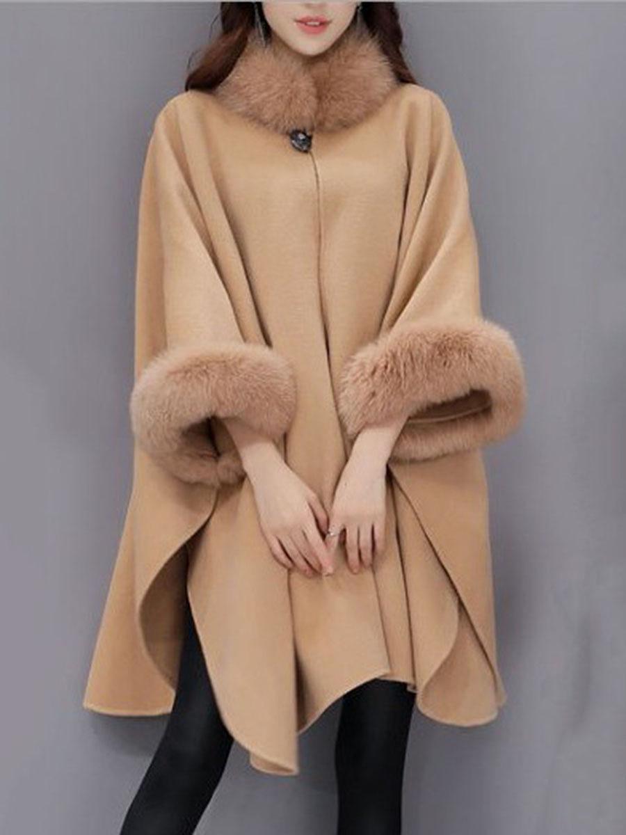 Faux fur collar frayed trim plain batwing sleeve coat australia