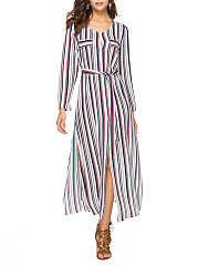 Round-Neck-Vertical-Striped-High-Slit-Belt-Maxi-Dress